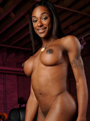 Amazing ebony t-girl goddess Natalia Coxxx posing